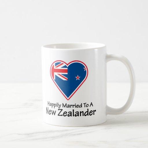 New Zealander feliz casado Tazas De Café