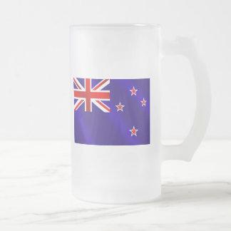 New Zealanders flag of New Zealand Kiwi gifts Frosted Glass Beer Mug