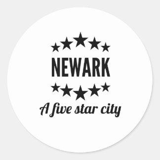 Newark cinco Star City Pegatina Redonda