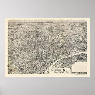 Newark, mapa panorámico de NJ - 1895 Póster