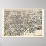 Newark, mapa panorámico de NJ - 1895 Posters