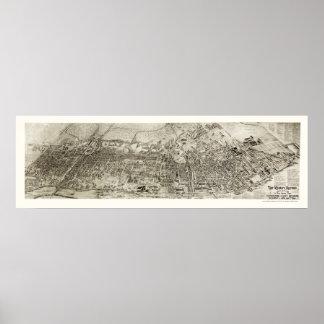 Newark, mapa panorámico de NJ - 1907 Poster