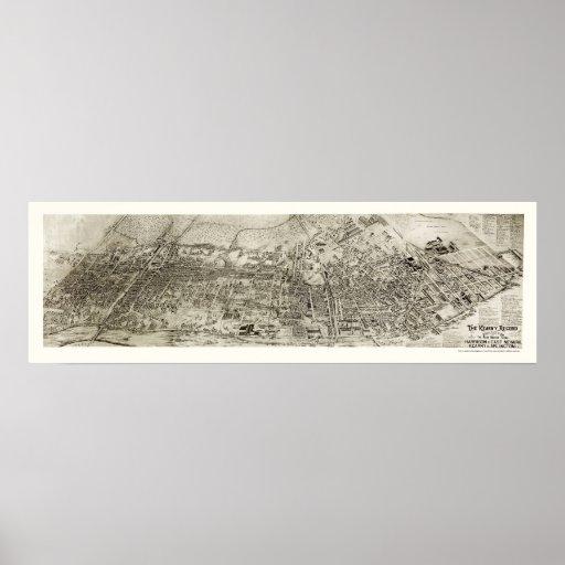 Newark, mapa panorámico de NJ - 1907 Póster