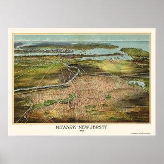 Newark, mapa panorámico de NJ - 1916 Póster