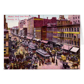 Newark New Jersey Market and Broad St 1909 Greeting Card