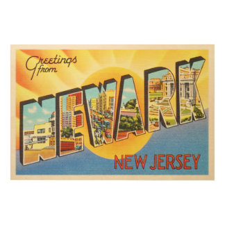 Newark New Jersey NJ Vintage Travel Postcard- Wood Wall Art