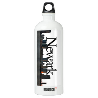 Newark New Jersey Skyline with Newark in the Sky Aluminum Water Bottle