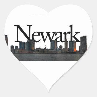 Newark New Jersey Skyline with Newark in the Sky Heart Sticker