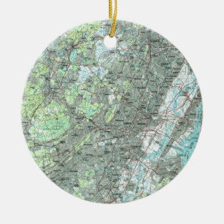 Newark NJ and Surrounding Areas Map (1986) Ceramic Ornament