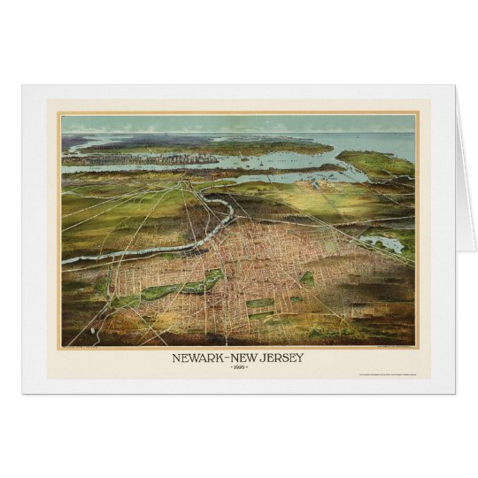 Newark, NJ Panoramic Map - 1916 Card