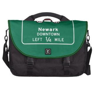 Newark, NJ Road Sign Laptop Messenger Bag