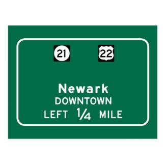 Newark, señal de tráfico de NJ Postales