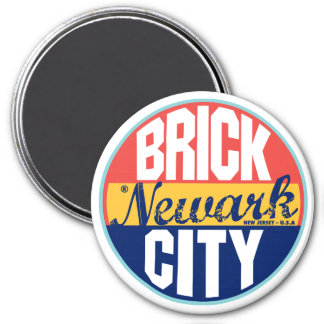 Newark Vintage Label 3 Inch Round Magnet