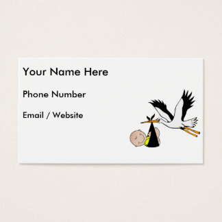 Newborn Baby and Stork Business Card
