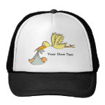 Newborn Baby Arrival - A Flying Stork Delivery Hat