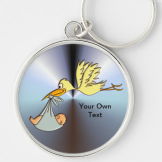 Newborn Baby Arrival - A Flying Stork Delivery Silver-Colored Round Keychain