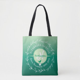 Newborn Baby Bird Monogram Ombre Green Leaf Wreath Tote Bag