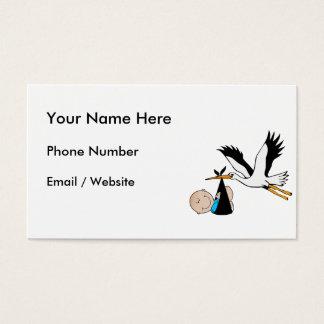 Newborn Baby Boy and Stork Business Card
