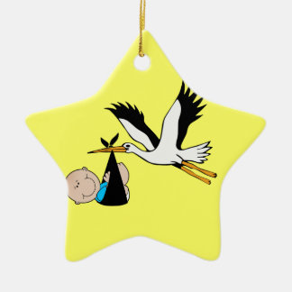 Newborn Baby Boy and Stork Ceramic Ornament