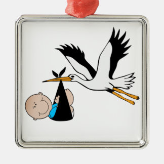 Newborn Baby Boy and Stork Metal Ornament