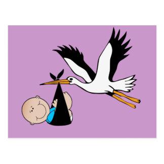Newborn Baby Boy and Stork Postcard