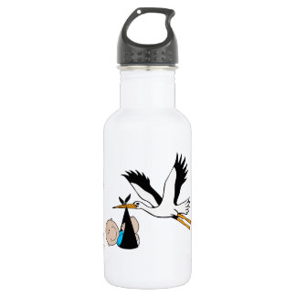 Newborn Baby Boy and Stork Stainless Steel Water Bottle