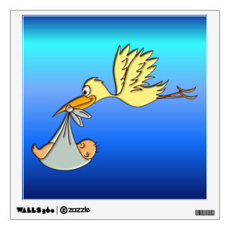 Newborn Baby Boy Arrival - A Flying Stork Delivery Wall Sticker