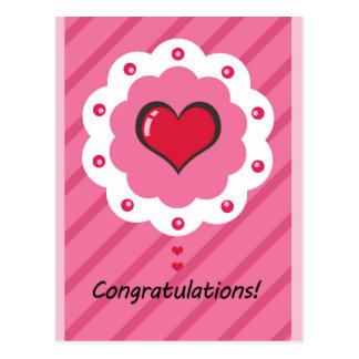 Newborn baby Congratulations pink stripes heart Postcard