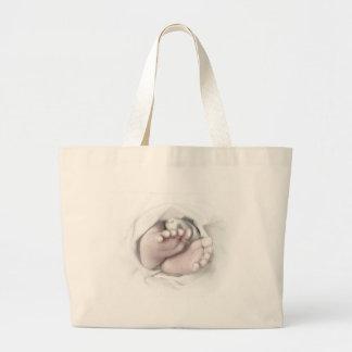 newborn baby feet pencil sketch large tote bag