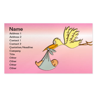 Newborn Baby Girl - A Flying Stork Delivery Business Card