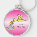 Newborn Baby Girl - A Flying Stork Delivery Key Chain