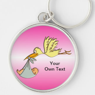Newborn Baby Girl - A Flying Stork Delivery Silver-Colored Round Keychain