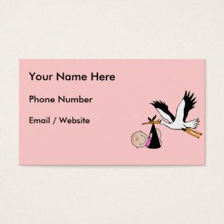 Newborn Baby Girl and Stork Business Card
