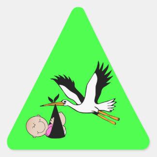 Newborn Baby Girl and Stork Triangle Sticker