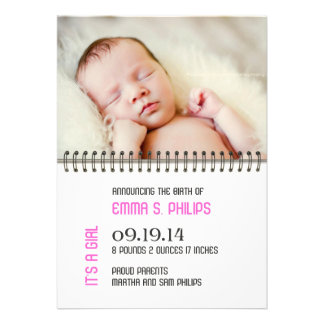 Newborn Baby Girl Announcement Flat Card