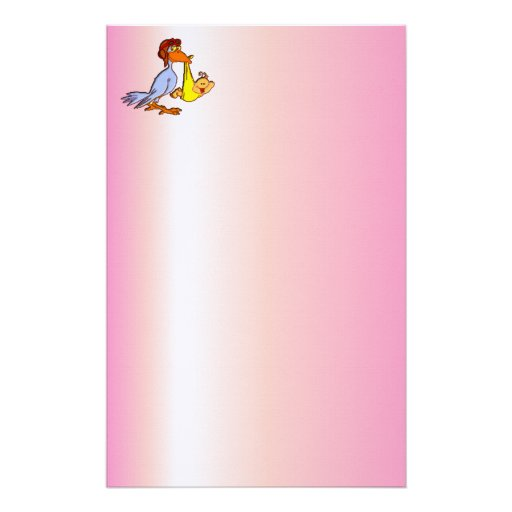 Newborn Baby Girl Arrival - A Stork Delivery Customized Stationery
