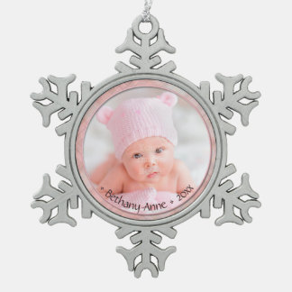 Newborn Baby Girl Commemorative Keepsake Dated Snowflake Pewter Christmas Ornament