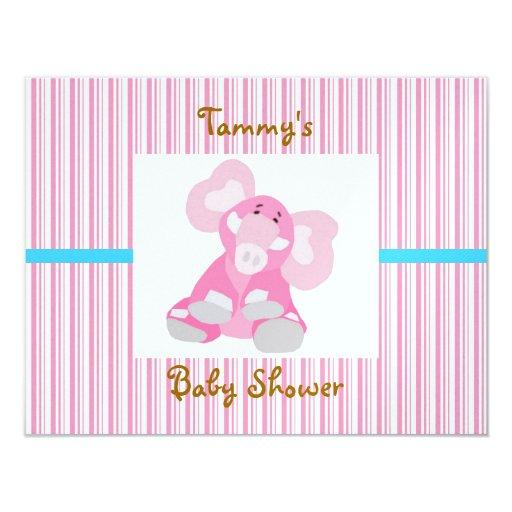 Newborn Baby Invitation Card (with Pink Elephant)