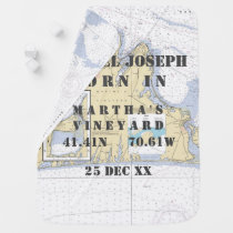 Newborn Baby Nautical Chart Martha's Vineyard Stroller Blanket