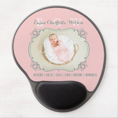 Newborn Baby Photo Monogram Blush Pink Green Frame Gel Mouse Pad