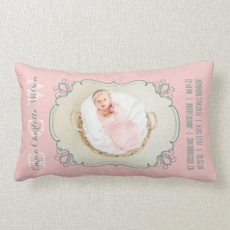 Newborn Baby Photo Monogram Blush Pink Green Frame Lumbar Pillow