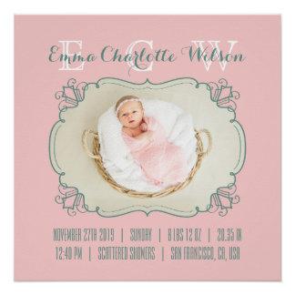 Newborn Baby Photo Monogram Blush Pink Green Frame Poster