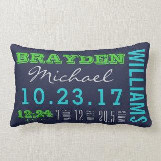 Newborn Birth Details Pillow | Baby Boy Navy