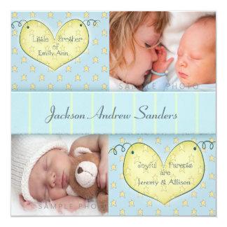 "Newborn Boy with Sibling Photo Birth Announcement 5.25"" Square Invitation Card"