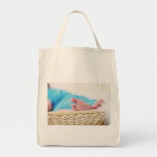 newborn cute nursery crib babies feet footprints grocery tote bag