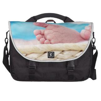 newborn cute nursery crib babies feet footprints laptop commuter bag