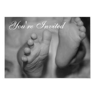 Newborn Feet Black and White Photo Invitation