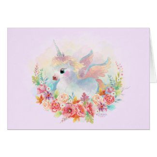 Newborn Flowers Unicorn Baby Greeting Card