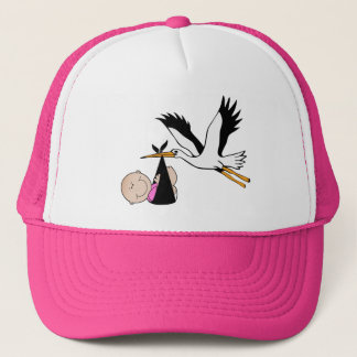 Newborn Girl and Stork Trucker Hat