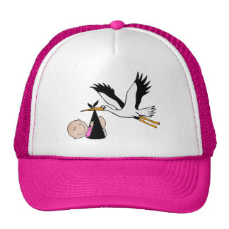 Newborn Girl and Stork Trucker Hat